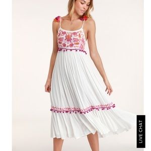 RAGA Ivory Embroidered Sleeveless Midi Dress